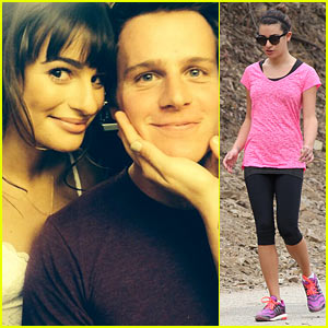 Lea Michele Goes Hiking After Weekend with Jonathan Groff!