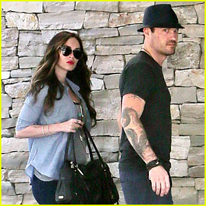 Megan Fox Covers Baby Bump at Lunch with Brian Austin Green