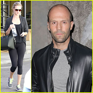 Rosie Huntington-Whiteley Hydrates, Jason Statham Promotes 'Homefront'!