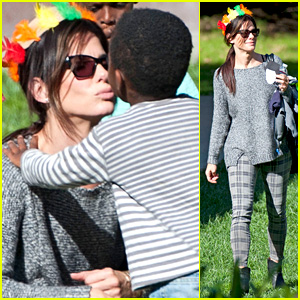 Sandra Bullock Gets Into Thanksgiving Spirit with Son Louis!