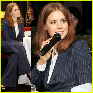 Amy Adams Rocks Pinstriped Pantsuit at 'Her' Luncheon