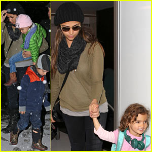 Camila Alves Lands in Snowy New York with the Kids!