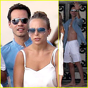 Marc Anthony Unbuttons His Shirt for Vacation with Chloe Green