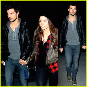 Taylor Lautner & Marie Avgeropoulos: Jay Z Concert Goers!