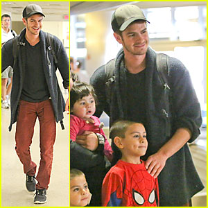 Andrew Garfield Poses with Spider-Man Fan at LAX Airport!