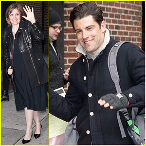 lena dunham max greenfield david letterman guests. Black Bedroom Furniture Sets. Home Design Ideas