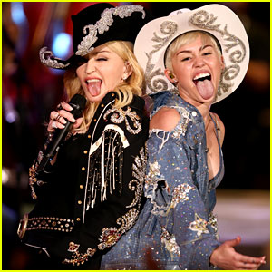 Miley Cyrus & Madonna: Tongues Out for MTV Unplugged!