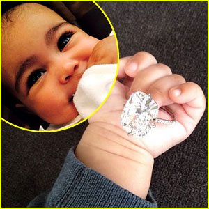 North West Holds Kim Kardashian's Engagement Ring on NYE!