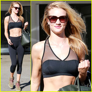 Rosie Huntington-Whiteley Dons Sheer Sports Bra to the Gym