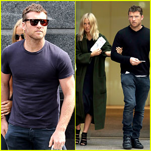 Sam Worthington & Lara Bingle Wear Matching Rings on That Certain Finger!