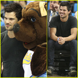 Taylor Lautner Cheers on UCLA at Courtside Basketball Game!