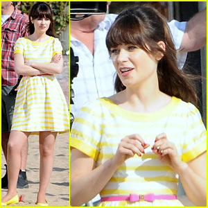 Zooey Deschanel Films 'New Girl' Beach Scenes with the Cast