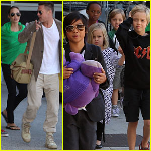 Angelina Jolie & Brad Pitt Fly to Los Angeles with All Six Kids!