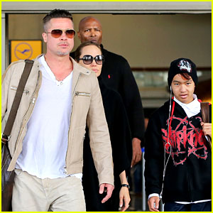 Angelina Jolie & Brad Pitt Land in Los Angeles with Maddox!