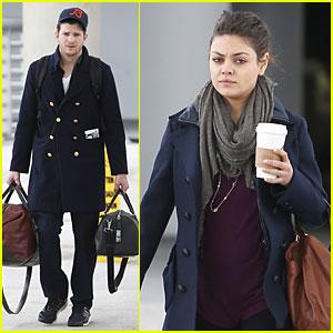 Ashton Kutcher & Mila Kunis: Jacksonville Airport Departing Couple!