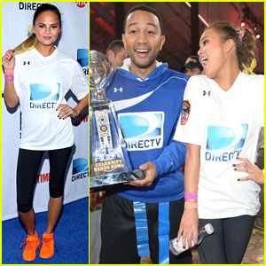 John Legend & Chrissy Teigen: Competing Couple at DirecTV Beach Bowl 2014!