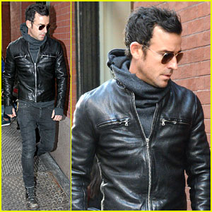 Justin Theroux Continues to Rock His Sexy Biker Look in NYC!