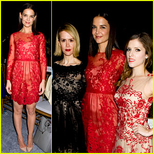 Katie Holmes: Lady in Red at Marchesa Fashion Show!