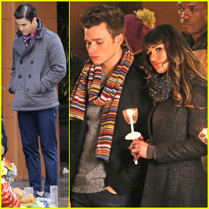 Lea Michele & Chris Colfer Film Memorial Scene for 'Glee'