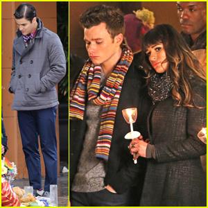 Lea Michele & Chris Colfer Film Memorial Scene for 'Glee'