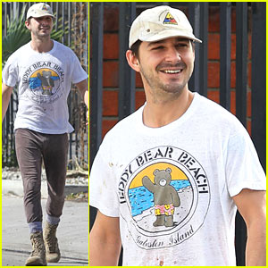Shia LaBeouf Shows a Smile Before His Workout