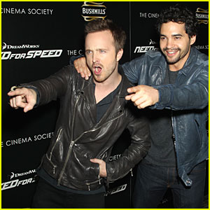 Aaron Paul & Ramon Rodriguez Point Fingers at 'Need For Speed' NYC Screening!