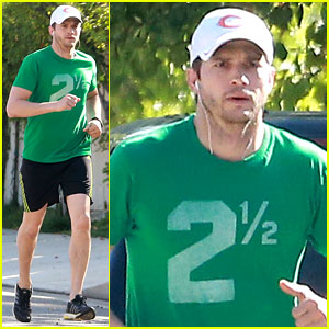 Ashton Kutcher Goes Green for St. Patrick's Day Jog!