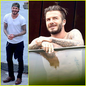 David Beckham Goes Shirtless on His Balcony in Rio