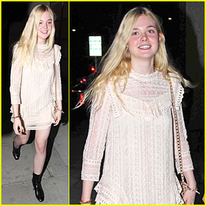 Elle Fanning Teases the Cameras in Sheer Dress at Mr. Chow!