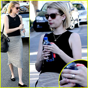 Emma Roberts Displays Huge Engagement Ring at Lunch
