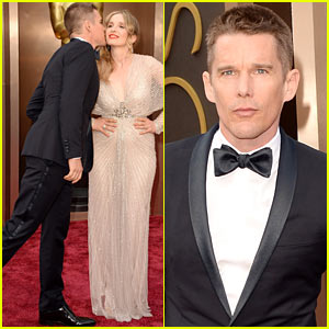 Ethan Hawke Plants a Kiss on Julie Delpy at Oscars 2014 Red Carpet!