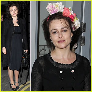 Helena Bonham Carter Wears a Headband Full of Flowers for High London's Store Launch