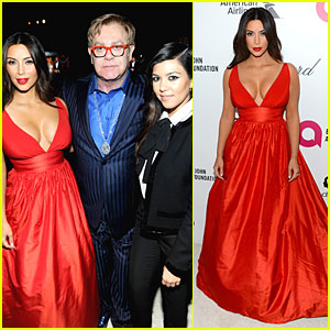 Kim Kardashian Bares Cleavage in Red Dress at Elton John Oscars Party 2014
