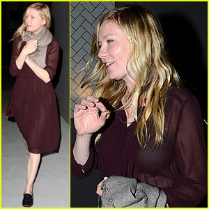 Kirsten Dunst Shows Off Black Bra in Sheer Purple Dress