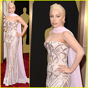 Lady Gaga: Metallic Goddess on Oscars 2014 Red Carpet!