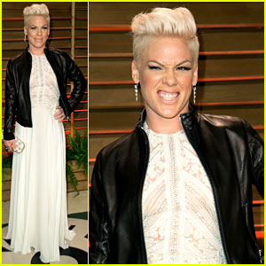 Pink Attends the Vanity Fair Oscars Party 2014 After Performing!