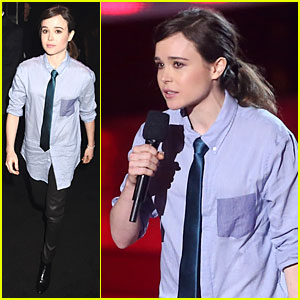 Ellen Page Sports Cool Tie Presenting New 'X-Men' Clip at MTV Movie Awards!