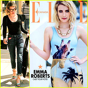 Emma Roberts Wears Giraffe Print Swimsuit for 'Elle Canada'