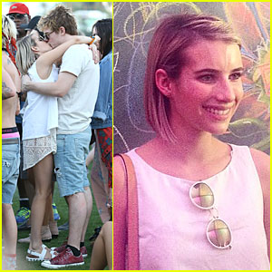 Emma Roberts & Evan Peters Don't Care Who Sees Them Kissing at Coachella!