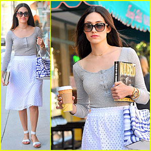 Emmy Rossum Keeps Her Eyes on 'Naked By the Window' at Nail Salon!