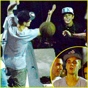 Justin Bieber Plays Late Night Basketball with Austin Mahone!
