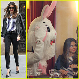 Miranda Kerr's Date Is a Huge Bunny For Commercial Shoot!