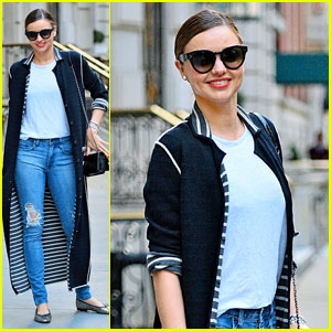 Birthday Girl Miranda Kerr Uses the Sidewalk as Her Runway