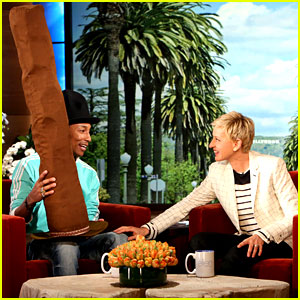 Ellen DeGeneres Gives Pharrell Williams One Super Tall Hat!