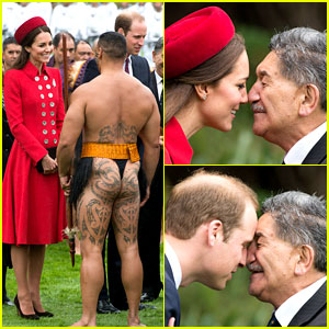 Kate Middleton & Prince William Welcomed to New Zealand by Half Naked Man & Nose Kisses!