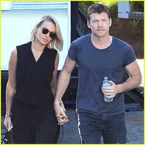 Sam Worthington Gets Visit from Lara Bingle on 'Cake' Set