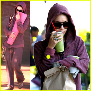 Vanessa Hudgens Dresses in Head-to-Toe Purple at the Gym