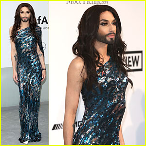Conchita Wurst Shines in Sequined Gown at Cannes' amfAR Gala 2014