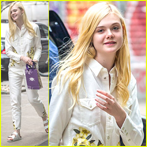 Elle Fanning Wears White Denim Out In New York City