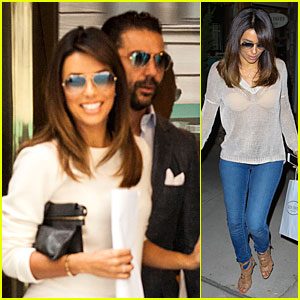 Eva Longoria Flashes Bright Bra in Sexy See-Through Top!